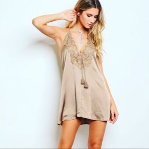 Dresses & Skirts - Plunging neckline halter mini dress
